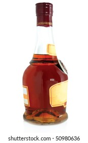 bottle of cognac isolated on a white background