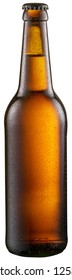 Bottle of cold beer with condensate drops on it. File contains clipping path.