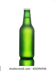 Bottle of cold beer with drops of water isolated on white