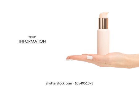 The bottle cosmetic cream lotion in hand cosmetology beauty pattern on white background isolation