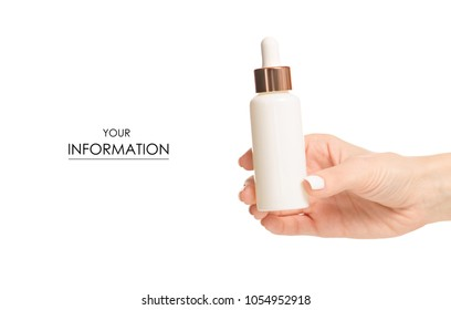 Bottle with cosmetics serum hyaluronic acid in hand pattern on a white background isolation