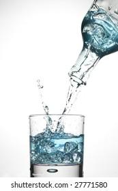 Bottle and creative splashing water.