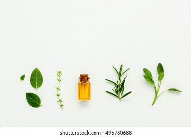 Bottle of essential oil with  fresh herbal sage, rosemary, thyme and peppermint setup with flat lay on white wooden table.