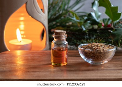 A bottle of essential oil with myrrh resin