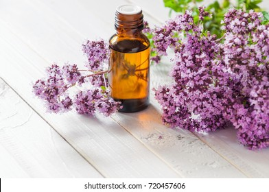 bottle of essential oil of oregano marjoram with flowering oregano on a wooden white rustic background