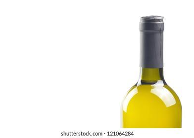 Bottle of fine Italian white wine isolated on white background