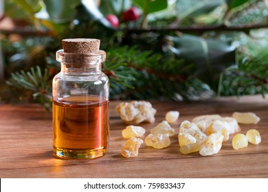 A bottle of frankincense essential oil with frankincense resin and spruce and holly branches in the background