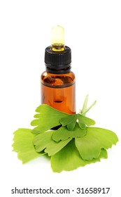 bottle of ginko oil and fresh ginko leaves - beauty treatment