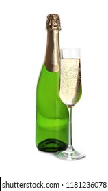 Bottle and glass with champagne on white background. Festive drink