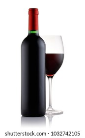 Bottle and a glass filled with red wine isolated on white background