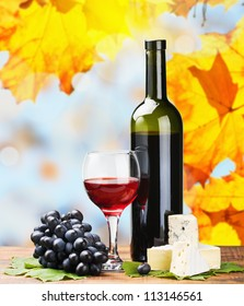 bottle, glass of red wine and assorted cheeses on a background of autumn leaves