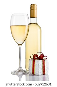 Bottle and glass of white wine and gift box on white background
