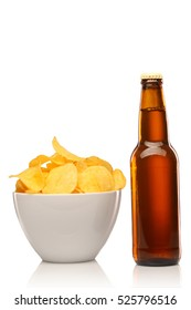 bottle of golden Beer with Potato Chips isolated on white