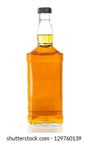 Bottle of Golden Brown Whisky on a background
