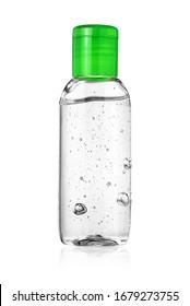 Bottle of hand sanitizer or antiseptic gel isolated on white background