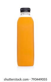 Bottle of healthy fruit orange juice smoothie on white background