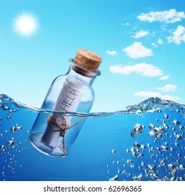 Bottle with help message floating in the see waves.