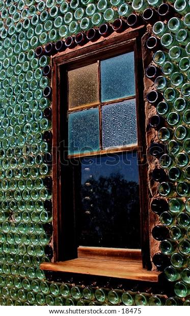 Bottle house window