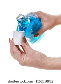 bottle with hygienic product in hand on white isolated background