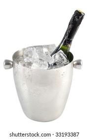 a bottle in an ice bucket