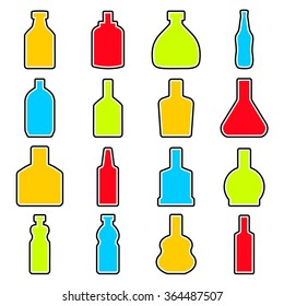 Bottle icon set in thin line style.