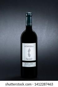 bottle of Italian wine zoccolaio sucule