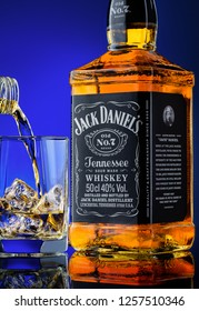 Bottle of Jack Daniel's whiskey. KIMRY,RUSSIA,13 October 2018: Bottle of Jack Daniel's whiskey and glass with ice and whiskey.Jack Daniel's is the best-selling American whiskey in the world.
