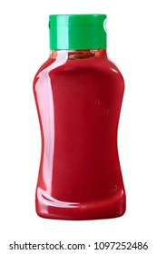 Bottle of Ketchup isolated on white background. Studio lights. Front position. 250 ml, 500 ml