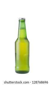 Bottle of lager beer isolated over white background