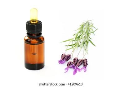 Bottle of lavender oil and fresh lavender flowers - beauty treatment