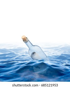 Bottle with a letter swims in the sea