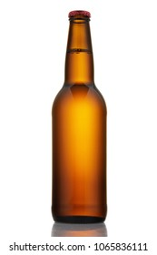Bottle of light beer isolated on white background