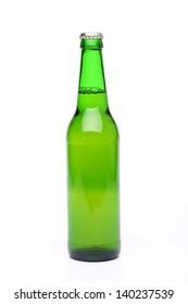 Bottle of light beer on white background.