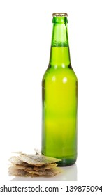 Bottle of light beer and the salty fish isolated on white