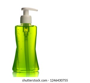 Bottle of liquid soap or cream or face wash dispensers or liquid stopper isolated on white background.