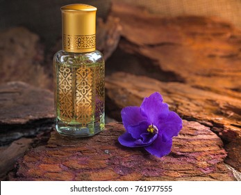 Bottle of oil agarwood tree against the bark. Arabian oud attar perfume or agarwood oil fragrances in mini bottle.