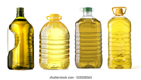 bottle oil plastic big on white background