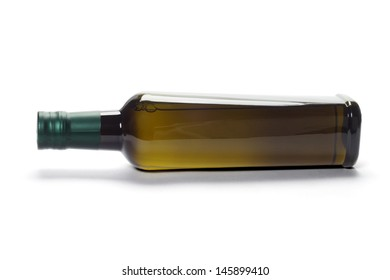 Bottle Of Olive Oil Lying On White Background