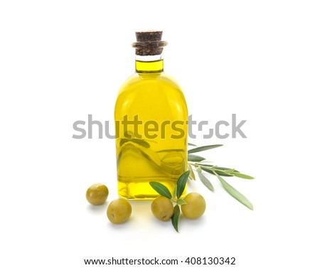 Bottle Olive Oil Olives White Background Stock Photo Edit