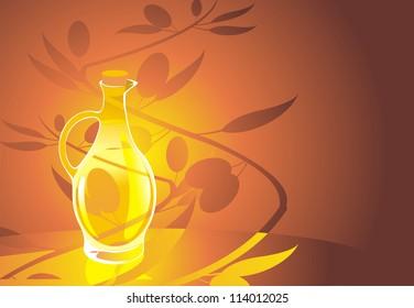 Bottle of olive oil on white background