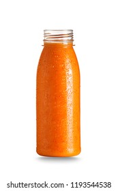 Bottle of orange fruit health smoothie isolated on white. Raw, vegan, vegetarian, alkaline food concept.