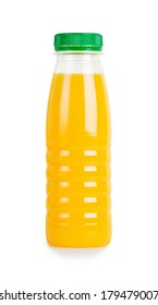 Bottle of orange juice on white background