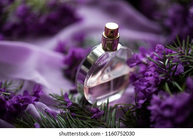 Bottle of perfume with flowers on color background