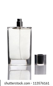 Bottle of perfume on white background with cap