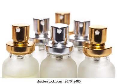 Bottle of perfume on white background