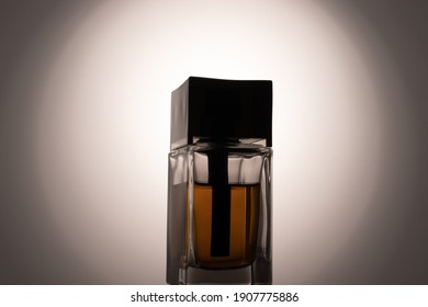 A bottle of perfume water on a white background