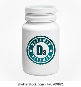 Bottle of pills with vitamin D3 on white background