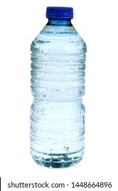 Bottle of plastic mineral water in closeup on white background