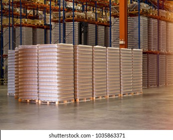Bottle plastic on pallets are storage in the warehouse and factory,Material plastic storage on floor and racking.