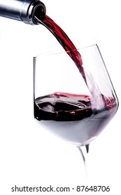 Bottle pouring red wine into a wine glass